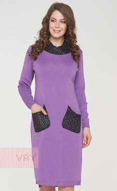 Dress Newvay 182-2369 viola/pajetki chern