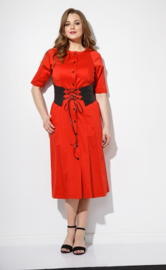 Dress Anna Majewska M-1101 Red s poyasom