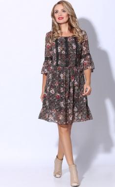 Dress LeNata 11081 zel s chernym goroshkom