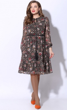 Dress LeNata 12072 zel s chernym goroshkom