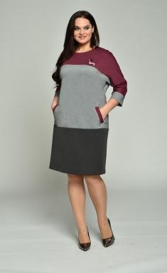 Dress Lady Style Classic 1666 bordo