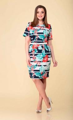 Dress Asolia 2531 s belym poyasom