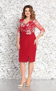 Dress Mira Fashion 4567 krasn s kruzhevom