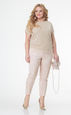 Trousers BelElStyle 586 pudra cvety