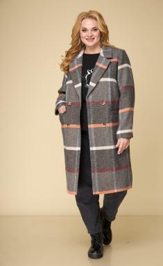 Coat BelElStyle 855 korichnevaya kletka