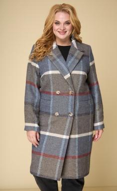 Coat BelElStyle 855 sinyaya kletka