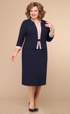 Dress Linia L B-1759 temno-sin / roz