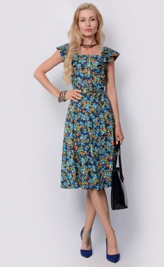 Dress La Café by PC F14864 indigo,ryzh,gol