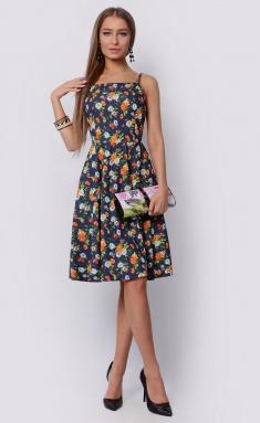 Dress La Café by PC F14788 indigo,gol,oranzh