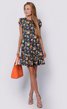 Dress La Café by PC NY14810 indigo,oranzh
