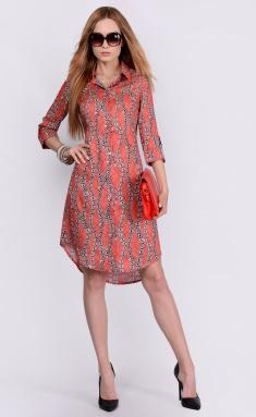 Dress La Café by PC NY1763 korallovyj,chern,bel